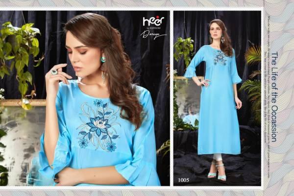 Heer Dariya Designer Straight Long Embroidery Work Kurtis Collection