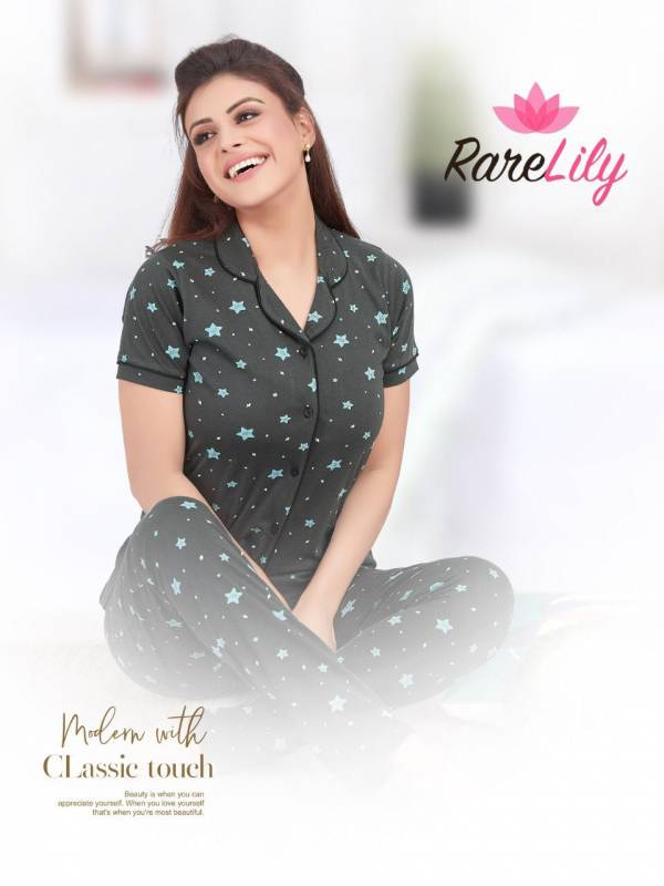 RARE LILY ZIL MIL VOL-1 Night Wear Fully Readymade With Half Sleeves n Buttons Collar Style Comfortable Collection