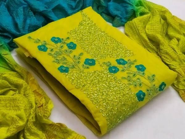 Latest Designer Heavy Festive Wear Hand Work Chanderi Dress Material Collection