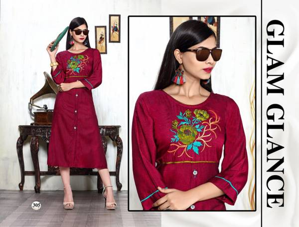 Trendy Melody 2 Heavy Rayon Hot Fix Butta Work Latest Designer Party Wear Stylish Kurtis Collections