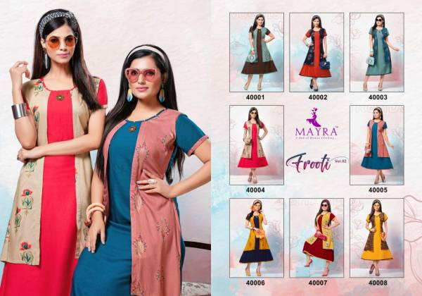 Mayra Frooty Vol 2 Latest Designer Jacket Style Kurtis Collection