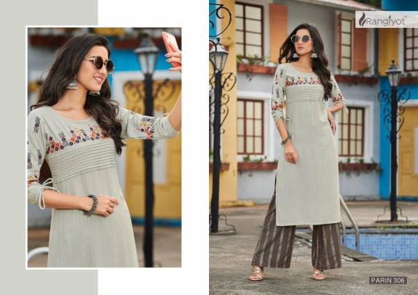 RANGJYOT PARIN VOL-3 Lateat fancy Festive Wear Heavy slub Rayon Dori With Gold Print Kurtis With Bottom Collection
