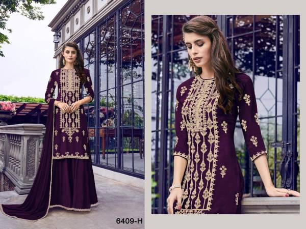 Swagat 6409 Latest Heavy Designer Wedding Wear Plazzo Suit Collection With Heavy Embroidery Work