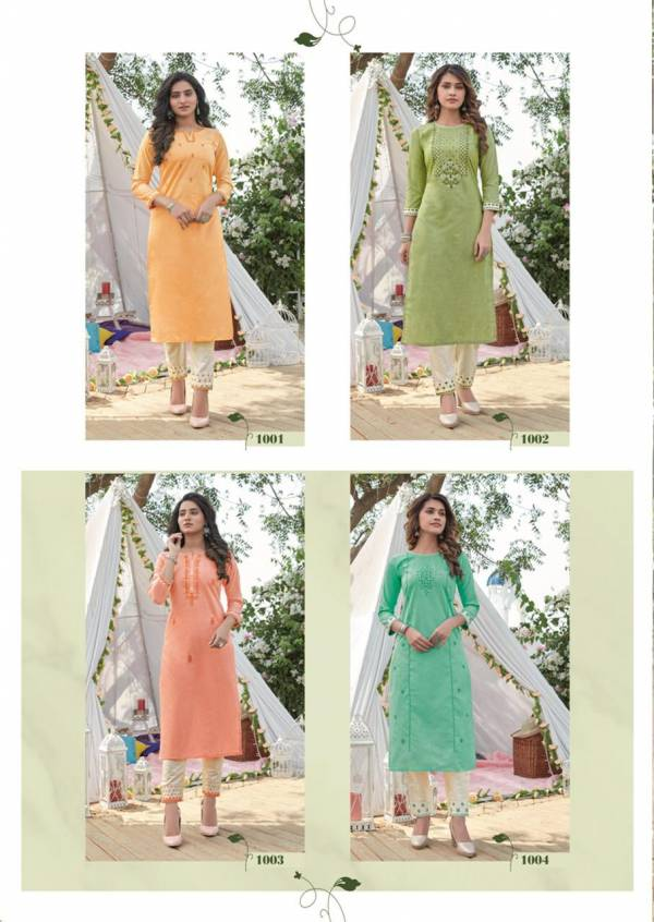 Krisha Lyra Latest Designer Fancy Festive Casual Wear Cotton Heavy Worked Kurtis With Bottom Collection