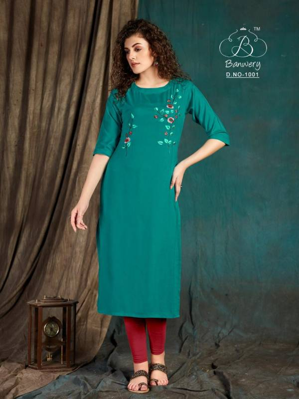 Banwery Taapsee Heavy Slub Rayon Airjet With  Embroidery Work Designer Kurtis Colections