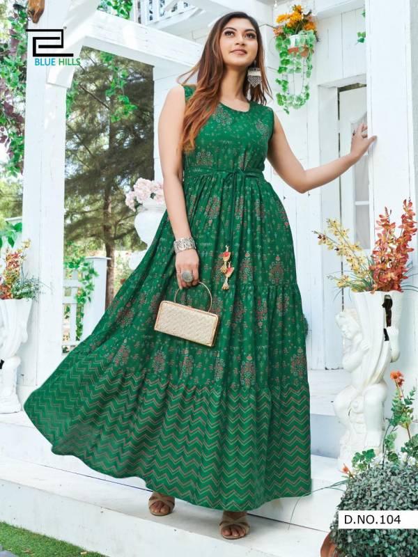 Blue Hills Sun Shine Latest Fancy Ethnic Wear Rayon Printed Flair Long Kurtis Collection