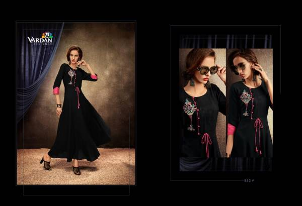 Passion Vol-1 Heavy Designer Party Wear Riyon Long Kurti With Designer Neck Design