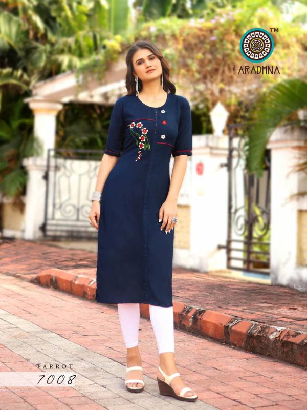 Aradhna Parrot 7 Latest Designer Fancy Party Wear Embroidery And Manual  Work Kurti Collection