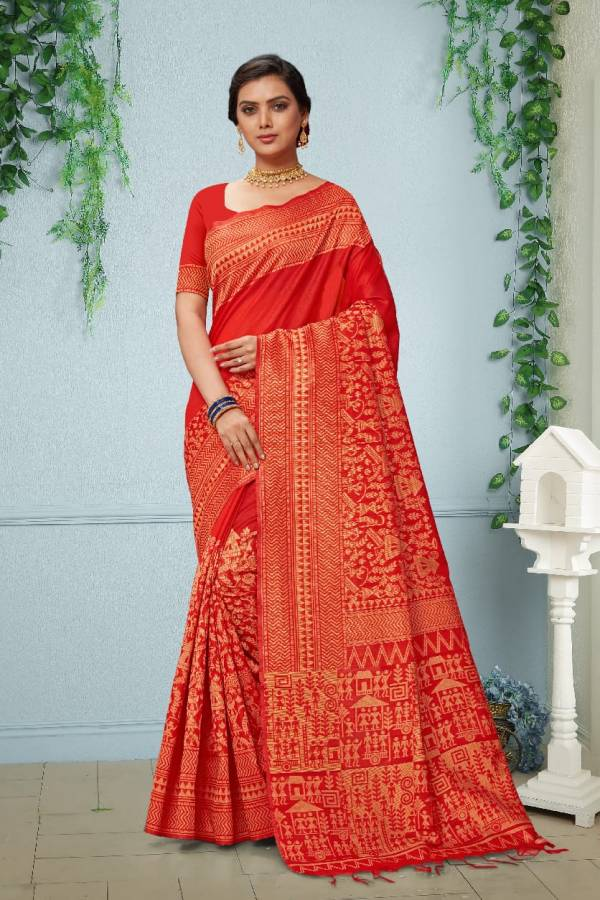 Designer Latest Party Wear With Full Printed Bhagalpuri Saree Collection