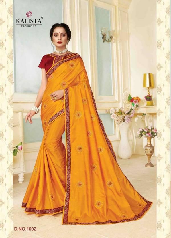 Kalista Rajdhani Latest Designer Festive Wear vichitra silk Embroidery Worked Sarees Collection