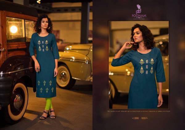 Poonam Lekha Malai Handwork Fancy Wear Embroidery Work Designer Kurti Collection