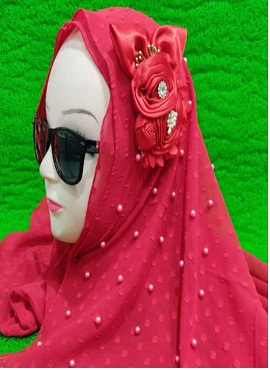 New Design Flower With Pearl Work Hijab Collection