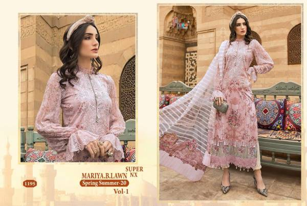 Shree Fab Mariya B Lawn Vol 1 Latest Heavy Designer Pure Cotton Embroidery Worked Pakistani Salwar Suit Collection With Chiffon Embroidered And Pearl Work Dupatta