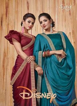 Saroj Disney Latest Designer Party Wear Saree Collection With Border and Banglori Silk Blouse