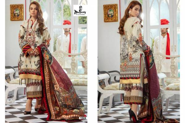 Majesty -Jam Silk Cotton Semi Lawn  Pure Cotton  Uniq Print -Chiffon Dupatta