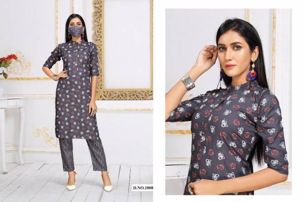 Coffee Bites 2 Casual Wear Rayon Printed Kurti  With Bottom With Mask Collection
