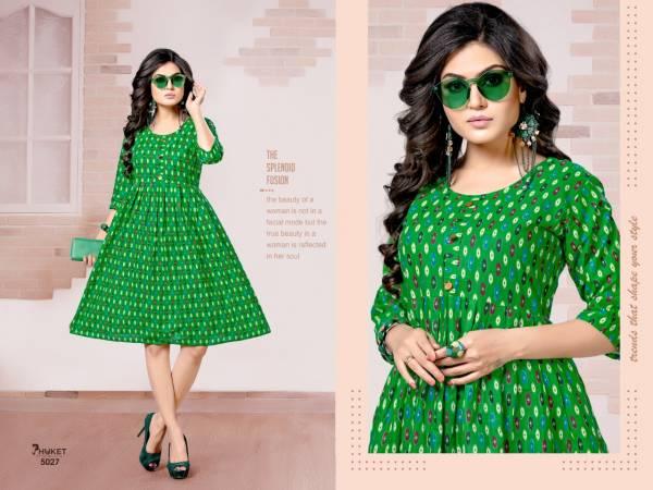 PHUKET Cotton Ikkat Prints Flair Designers Casual Wear Kurtis Collection