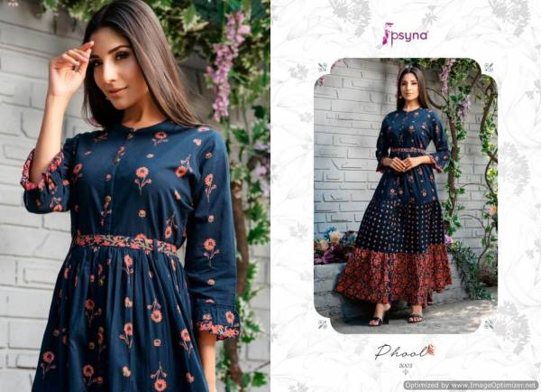 Psyna Phool Vol 3 Casual Wear Full Gown Style Cambric Cotton Kurti Collection