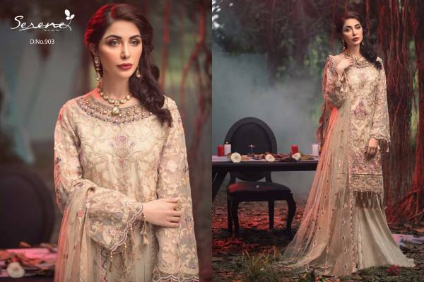 Serene Adans Melody Latest Faux Georgette Heavy Embroidered Festive Wear Pakistani Salwar Suits Collection