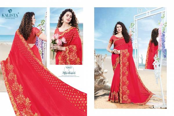 Kalista Meera Latest fancy Designer Festive Wear Heavy vichitra silk Embroidery Worked Sarees Collection
