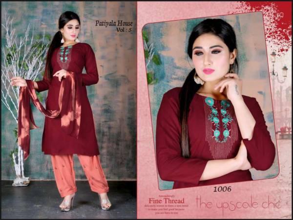 Ft Patiyala House 5 Latest Designer Fancy Festive Wear Rayon Printed Readymade Salwar Suit Collection