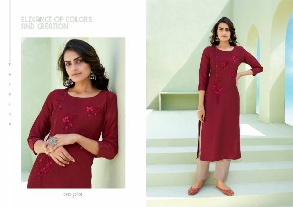 KALAROOP OCTAVIA VOL-7 Latest Fancy Festive Wear Lining Silk With Fancy Hand Work Kurtis With Bottom Collection