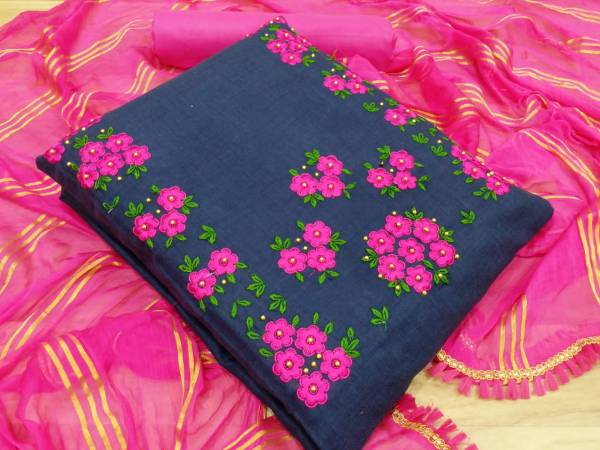 Cotton Slub Latest Fancy Casual Wear Cotton Top With Bottom And Nazmin Zari Dupatta Dress Material Collection