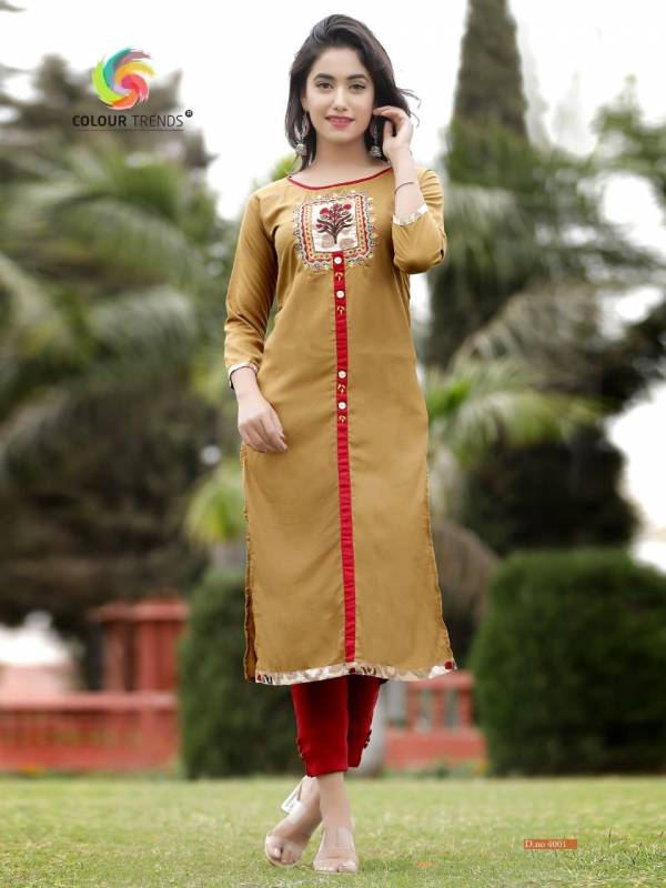 Colour Trendz Para Vol 4 Rayon Embroidery Kurtis With Handwork Collections