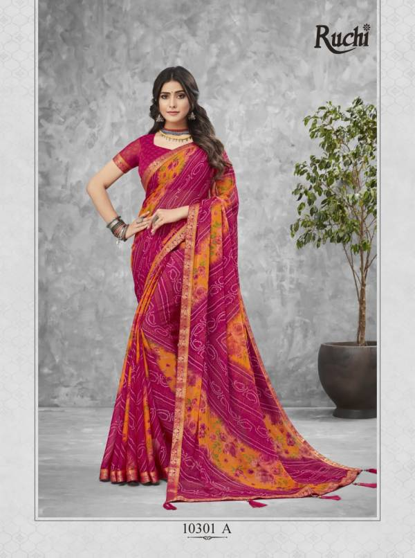 Ruchi Jalpari 1 Latest Ethnic Wear Bandhej Chiffon Printed Saree Collection
