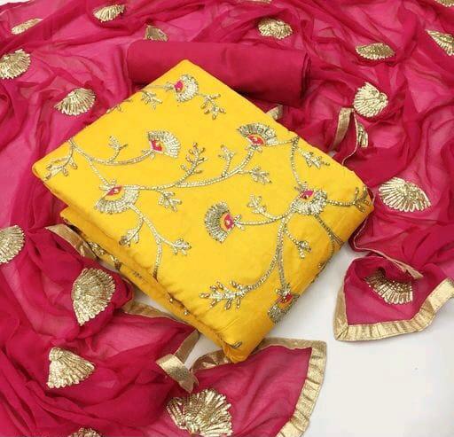 Gota Patti Special Designer Casual Wear Modal Chanderi Silk Lining Santoon Silk Nazneen Silk Dupatta Dress Material Collection