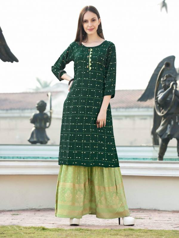 Rimzim 1 Latest Fancy Designer Ethnic Wear Rayon Foil Printed Kurtis With Palazzo Collection
