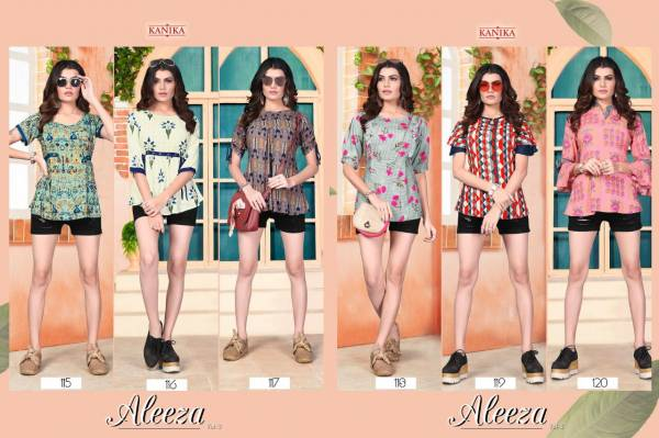 Aleeza Vol-3 Designer Party Wear Reyon Printed Top Collection
