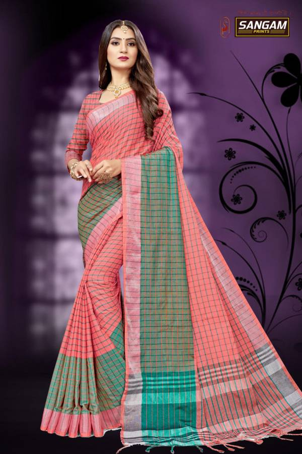 Sangam Red Carpet 6 Latest fancy designre Casual Wear Cotton Linen Sarees Collection