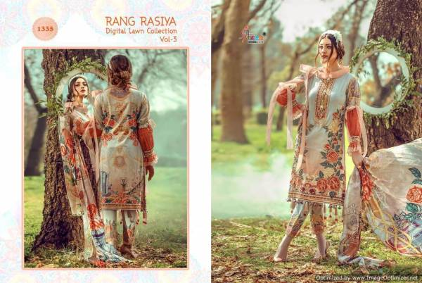 Shree Fab Rang Rasiya Vol 3 Latest Designer Digital Lawn Cotton With Heavy Embroidery Pakistani Salwar Suit Collection