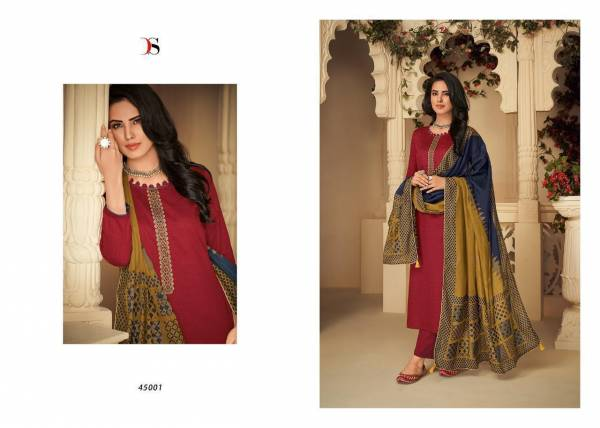 Panghat-4 Designer Pure Jam Cotton Printed Suit With Heavy Self Embroidery Box Pallu With Four Side Lace & Tussels Dupatta