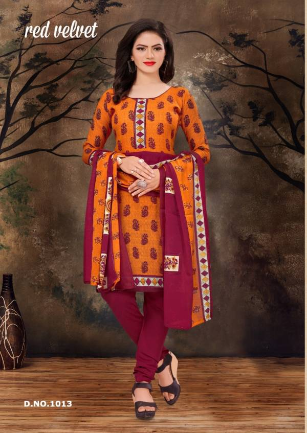 Amit Red Velvet Regular Ethnic Patiyala Wear Printed Cotton Collection