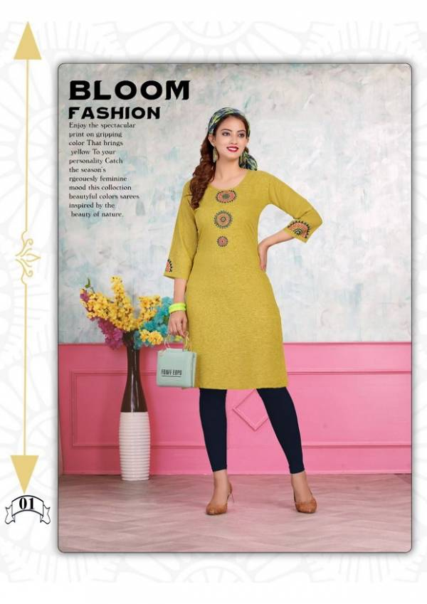 Herlin Latest Fancy Designer Regular Casual Wear Rayon Embroidery Kurtis Collection