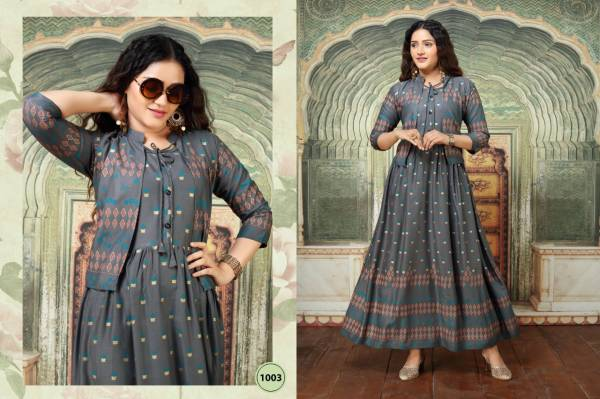 Ft Palak Flair Style Latest Fancy Designer Heavy Casual Wear Rayon Long Gold Printed Kurtis Collection