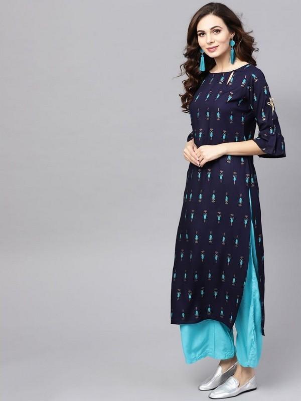Mastani Latest Fancy Ethnic Wear Pure Rayon Printed Kurtia With Bottom Collection