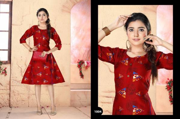 Archer Latest Designer Party Wear Two Tone Printed Anarkali Kurti Collection