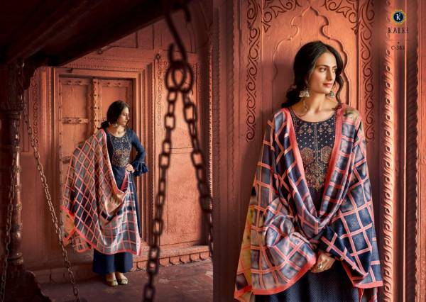 Kalki Hushna Pure Self Woven Pashmina Negative Print Designer Embroidered Party Wear Plazzo Suit Collection
