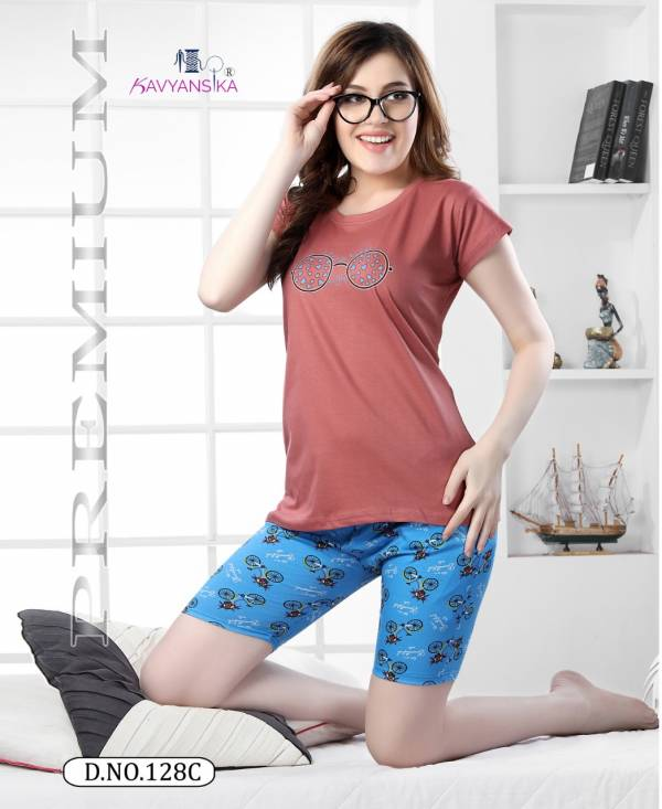 Kavyansika Short Nightsuits 128 Premium Exclusive Comfortable Hosiery With Super Fine Stitching Short Printed Hoisery Cotton Collection