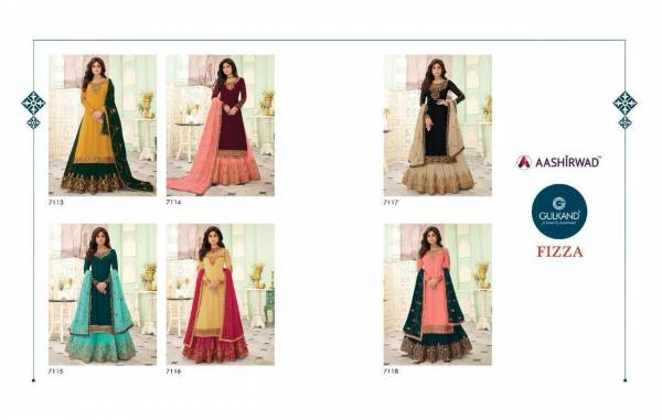 Ashirwad Fizza Real Georgette with Dull Santoon Inner Designer Wedding and Partywear Suit with Skirt Collections