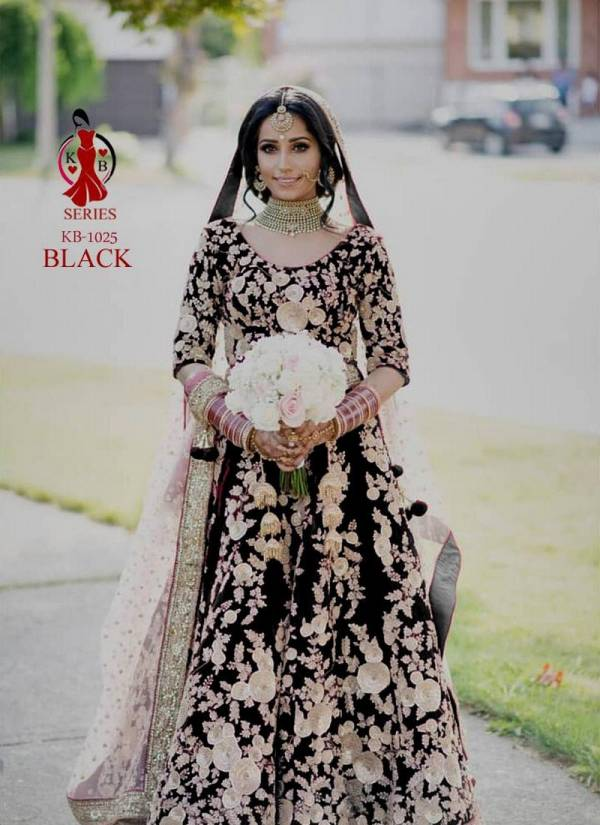 KB KB-1025 Latest Designer Wedding Wear Heavy Velvet Beautiful Embroidery And Diamond work fancy dori work  Lehenga Choili Collection