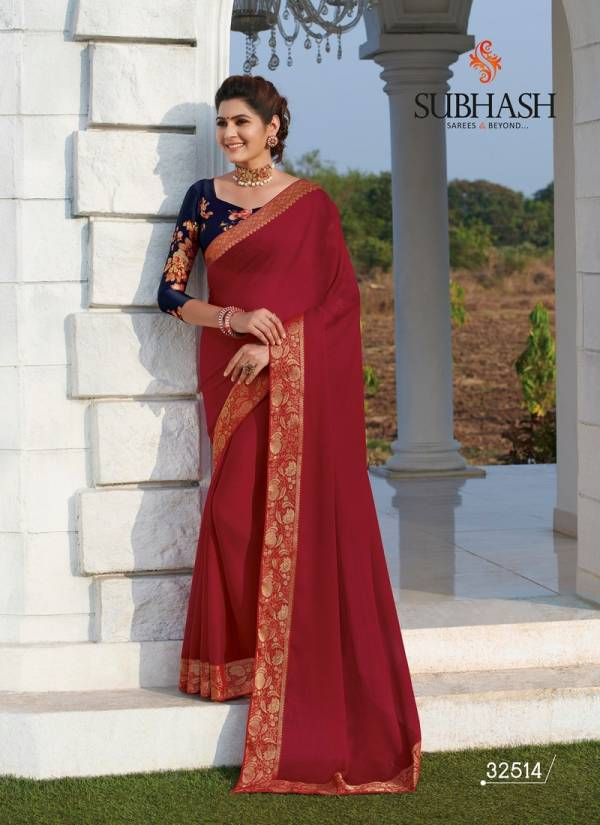 Subhash Spash vol4 Embroidery Work Designer Heavy Partwear Saree with Dupian and Brocade Blouse Good Looking Saree Collections