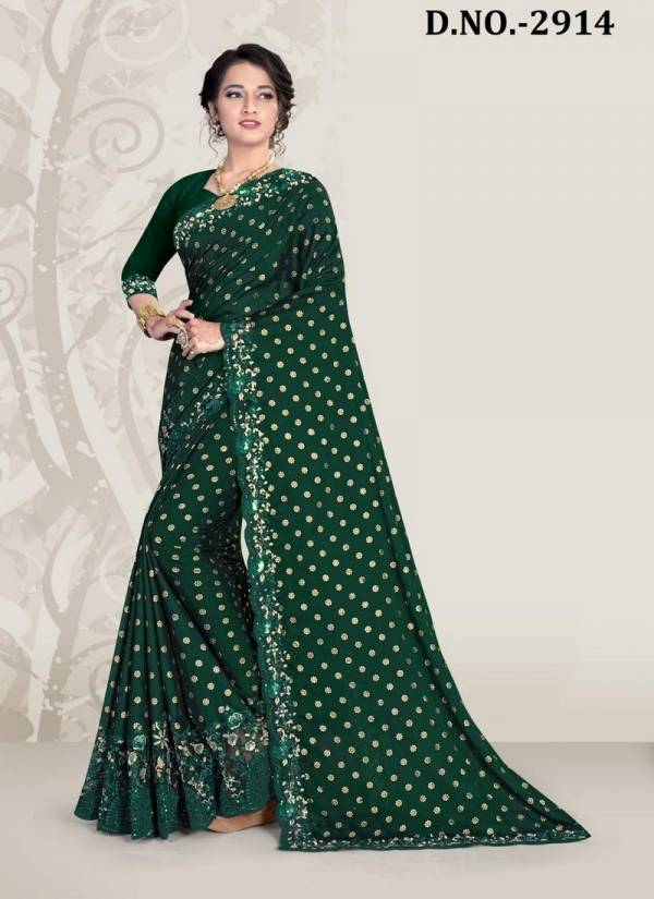 NARI KAVYANJALI Fancy Latest Designer Festive Wear Heavy Coding And Siqvence Embroidery With Applique Flower Siramic hand Work Silk Saree Collection