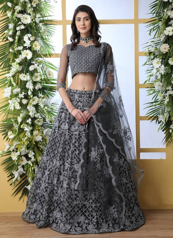 Khushbu Designer Wedding and Partywear Embroidery Net Lehenga Choli