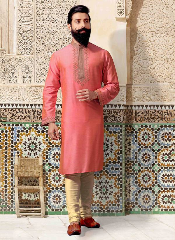 New Traditional Wedding and Party Wear Silk and Jacquard Embroidery Work Kurta Pajama in Wholesale Collection