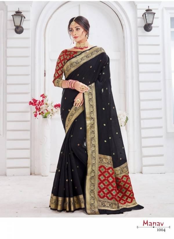 Manav Silk Soft Weaving Cotton With Jequard Patola Blouse and Patola Pallu Designer Saree Collections