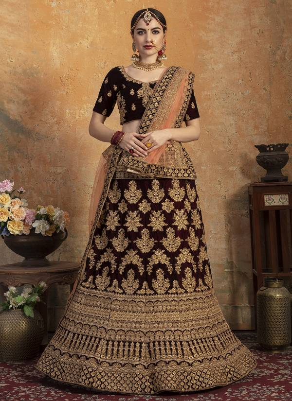 WEDDING HERITAGE VOL-1 BY PC 9001 TO 9004 SERIES DESIGNER BEAUTIFUL WEDDING COLLECTION OCCASIONAL WEAR & PARTY WEAR PURE VELVET LEHENGAS AT WHOLESALE PRICE